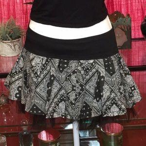 Royal Bones Black & White Paisley Mini Hip Skirt